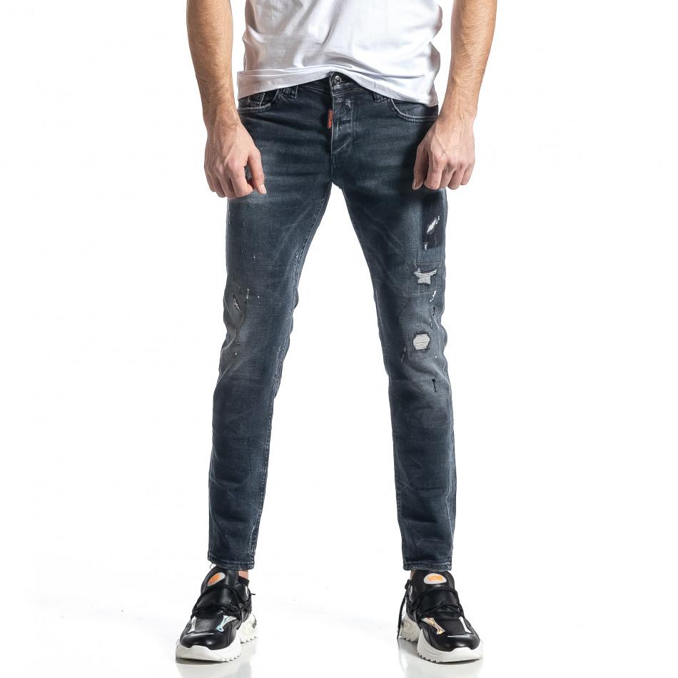 Мъжки сиви дънки Destroyed Paint tr010221-36