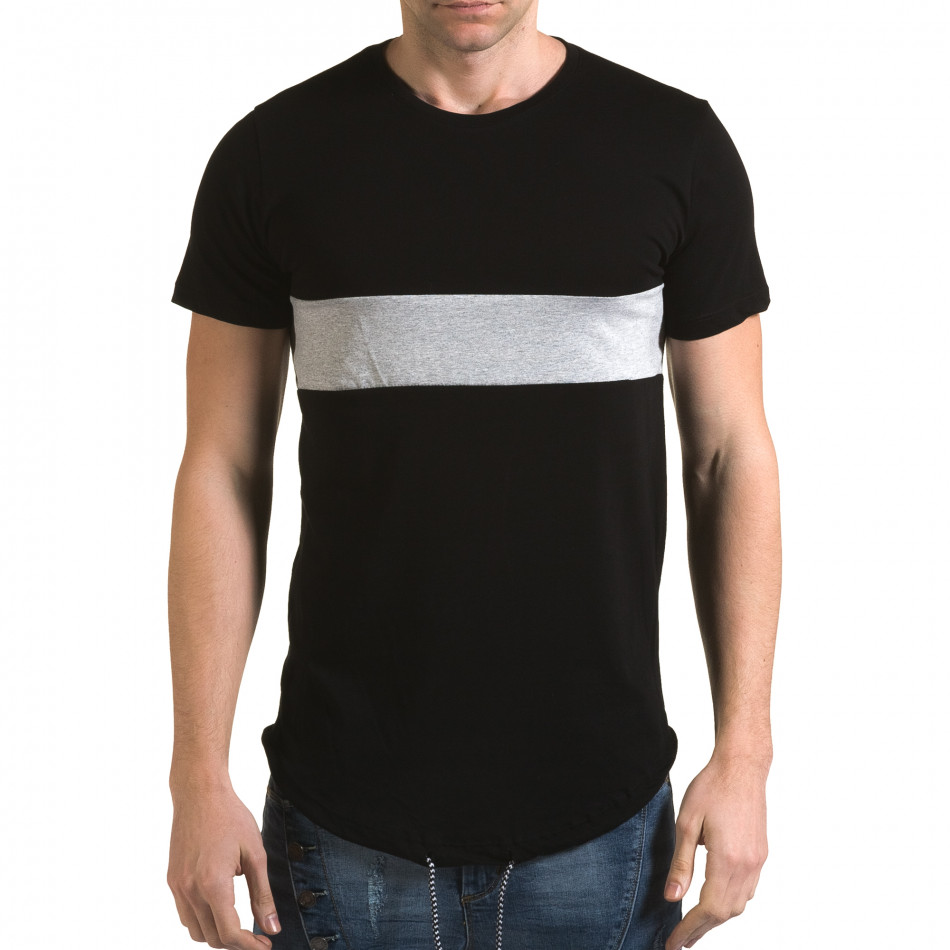 Мъжка черна издължена тениска със сива лента it090216-66