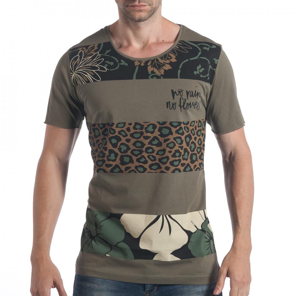 Мъжка зелена тениска с флорален принт tsf090617-36
