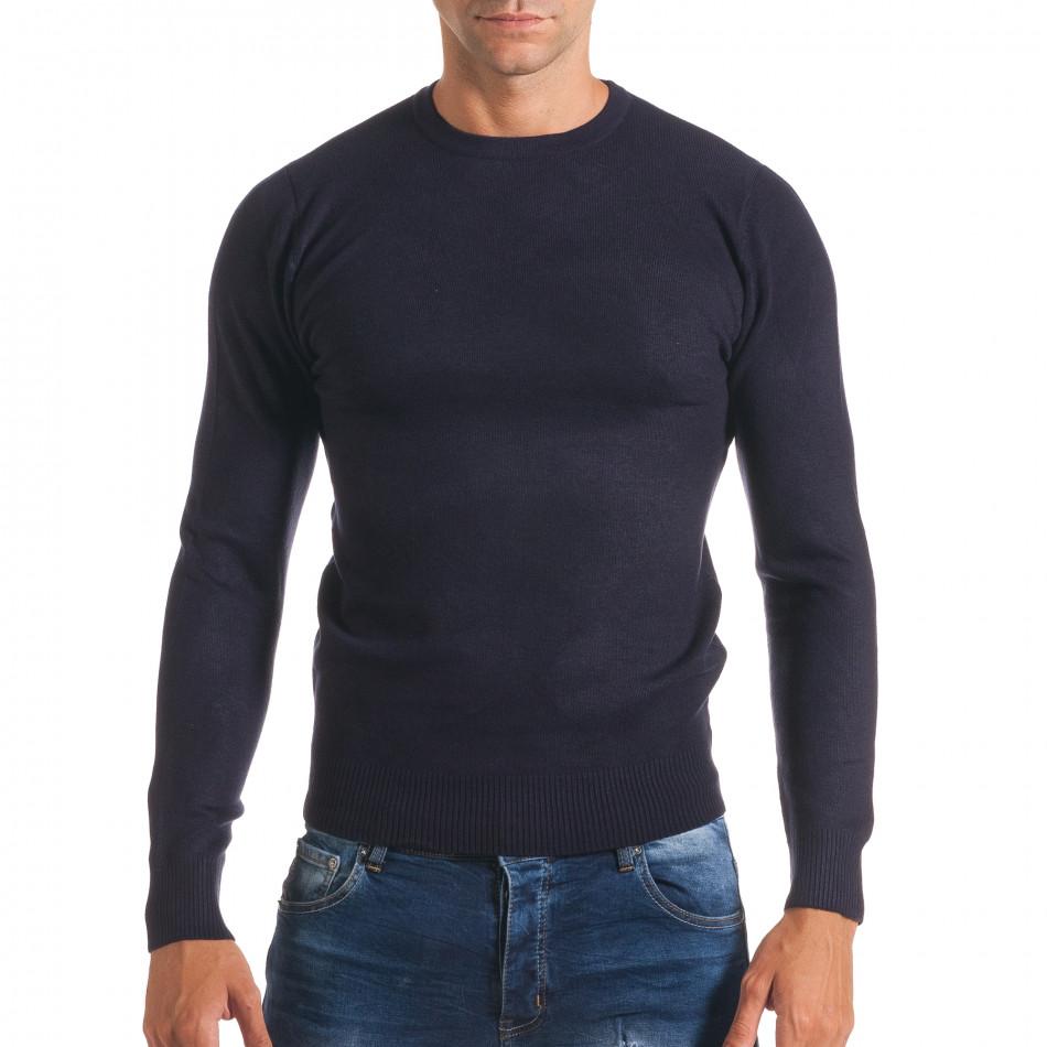Мъжки син изчистен пуловер с обло деколте it170816-41