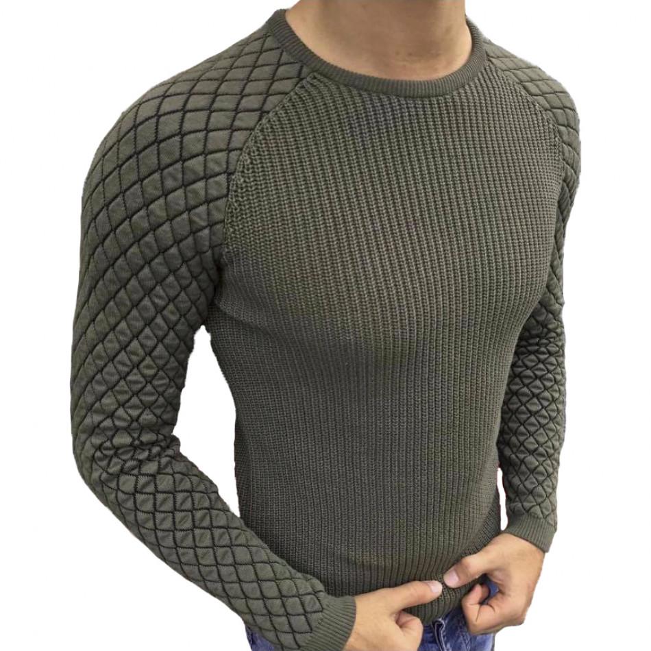 Милитъри зелен пуловер с реглан ръкав на ромбове it261120-2