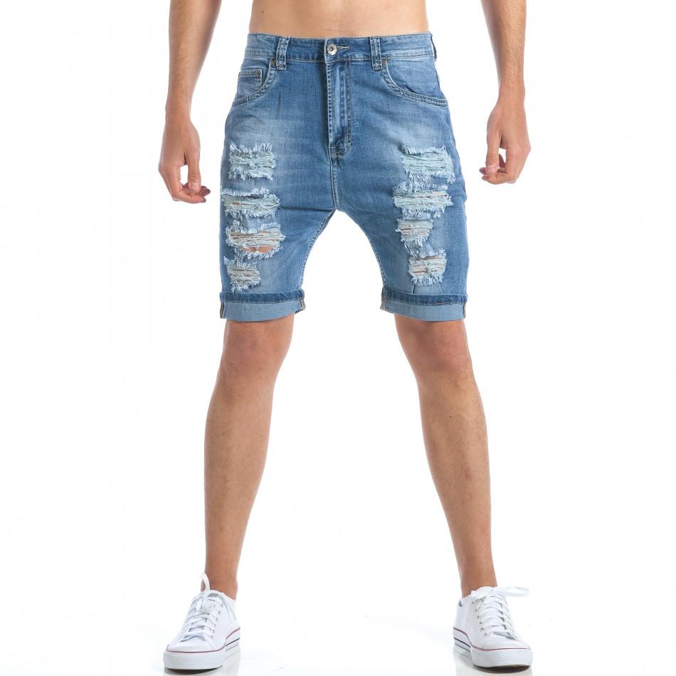 Мъжки къси дънки с големи декоративни скъсвания it190417-57