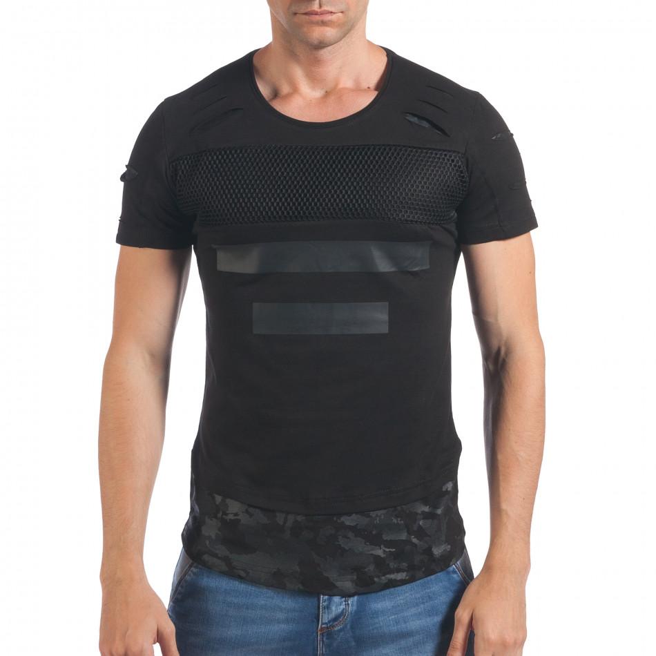 Мъжка черна тениска с декоративни скъсвания il060616-90