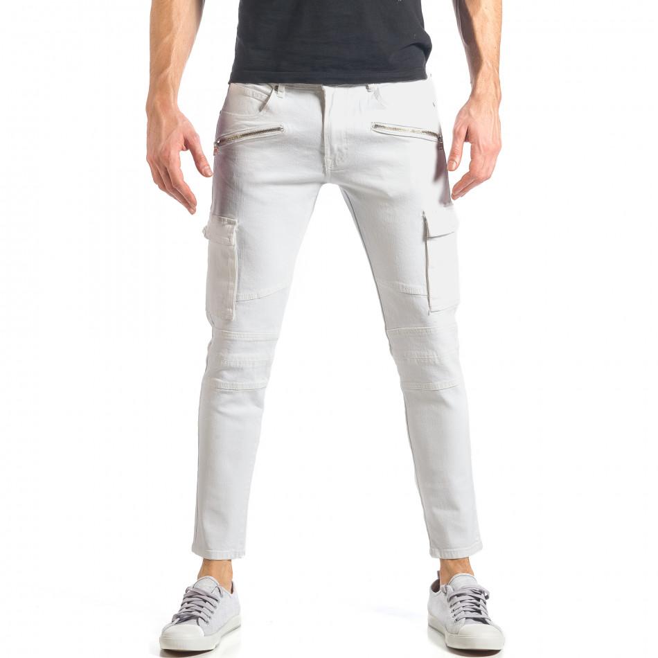 Мъжки бели дънки с карго джобове it290118-19