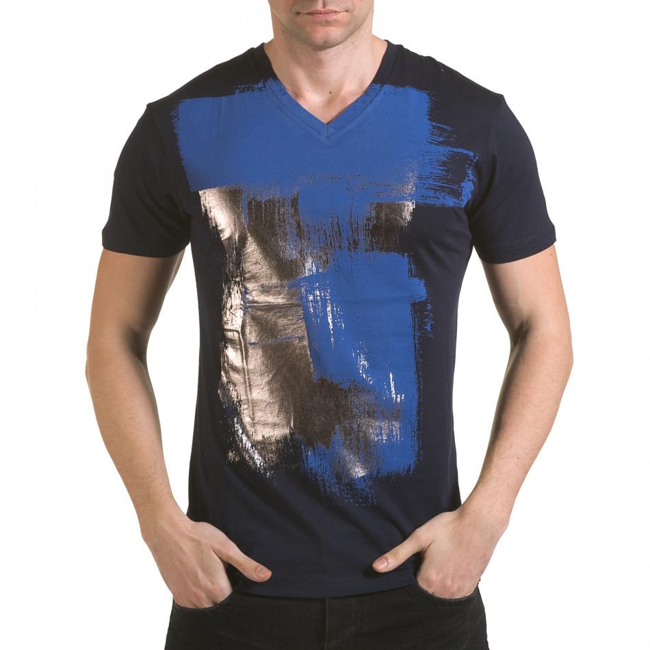 Мъжка синя тениска със сребристо-син принт il170216-43