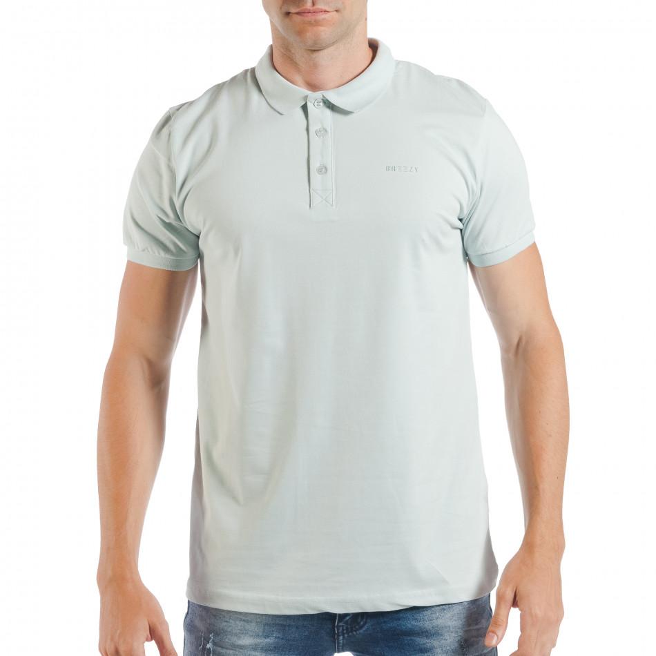 Мъжка тениска с яка basic модел в светло зелено tsf250518-32