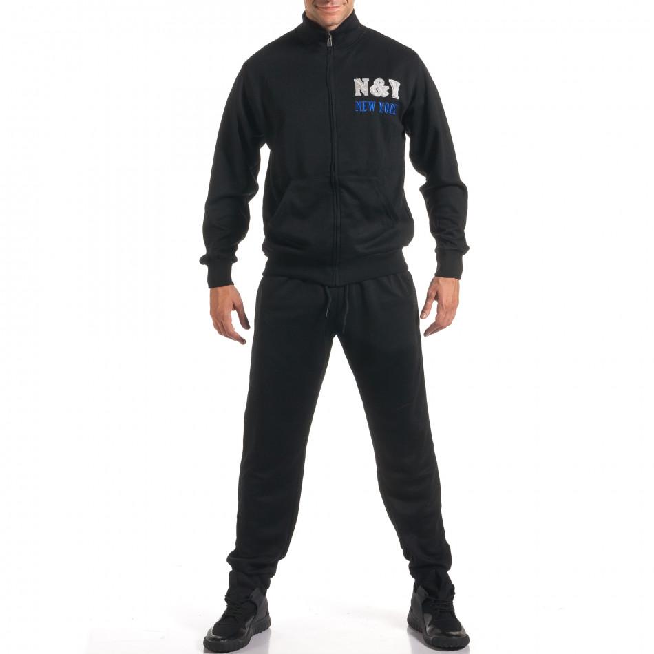 Мъжки черен спортен комплект с релефен надпис N&Y it160916-82