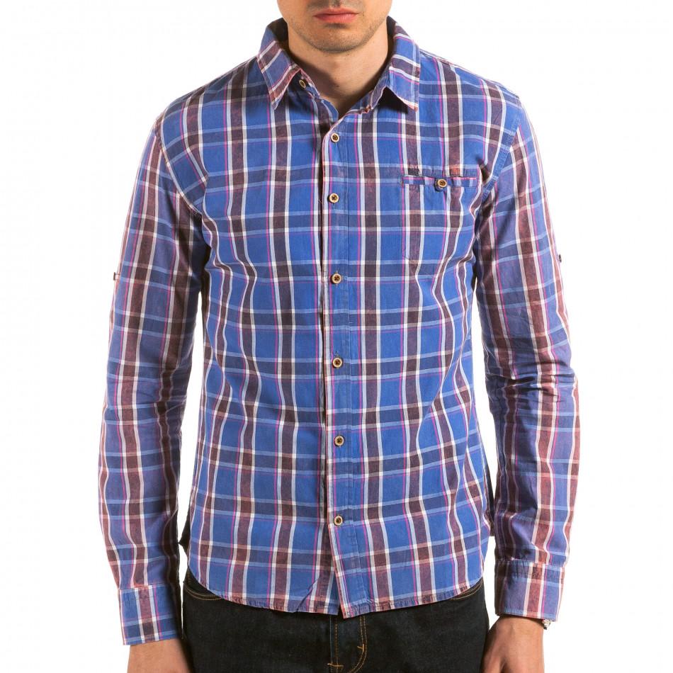 Мъжка синя карирана риза il180215-186