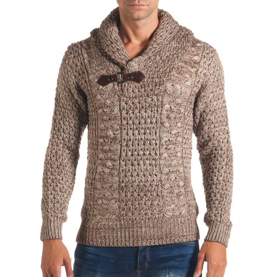 Мъжки бежов зимен пуловер със закопчаване на яката it170816-18