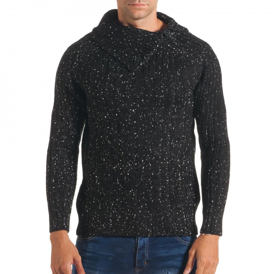Мъжки черен зимен пуловер с малки бели точки it170816-52