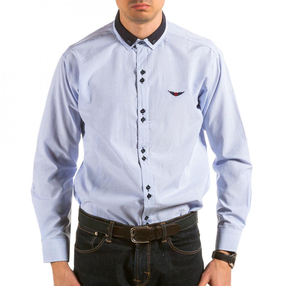 Мъжка синьо-бяла раирана риза il180215-177
