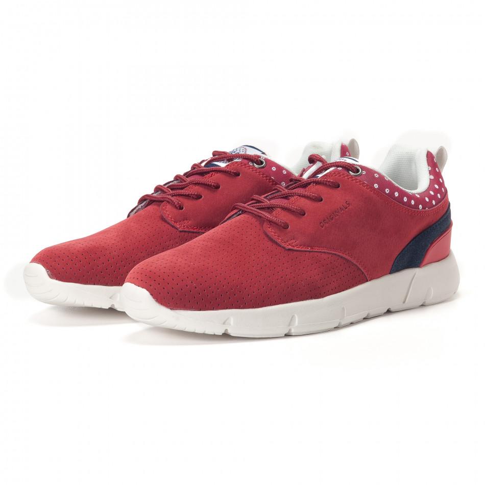 Мъжки червени маратонки с бели подметки it250118-21