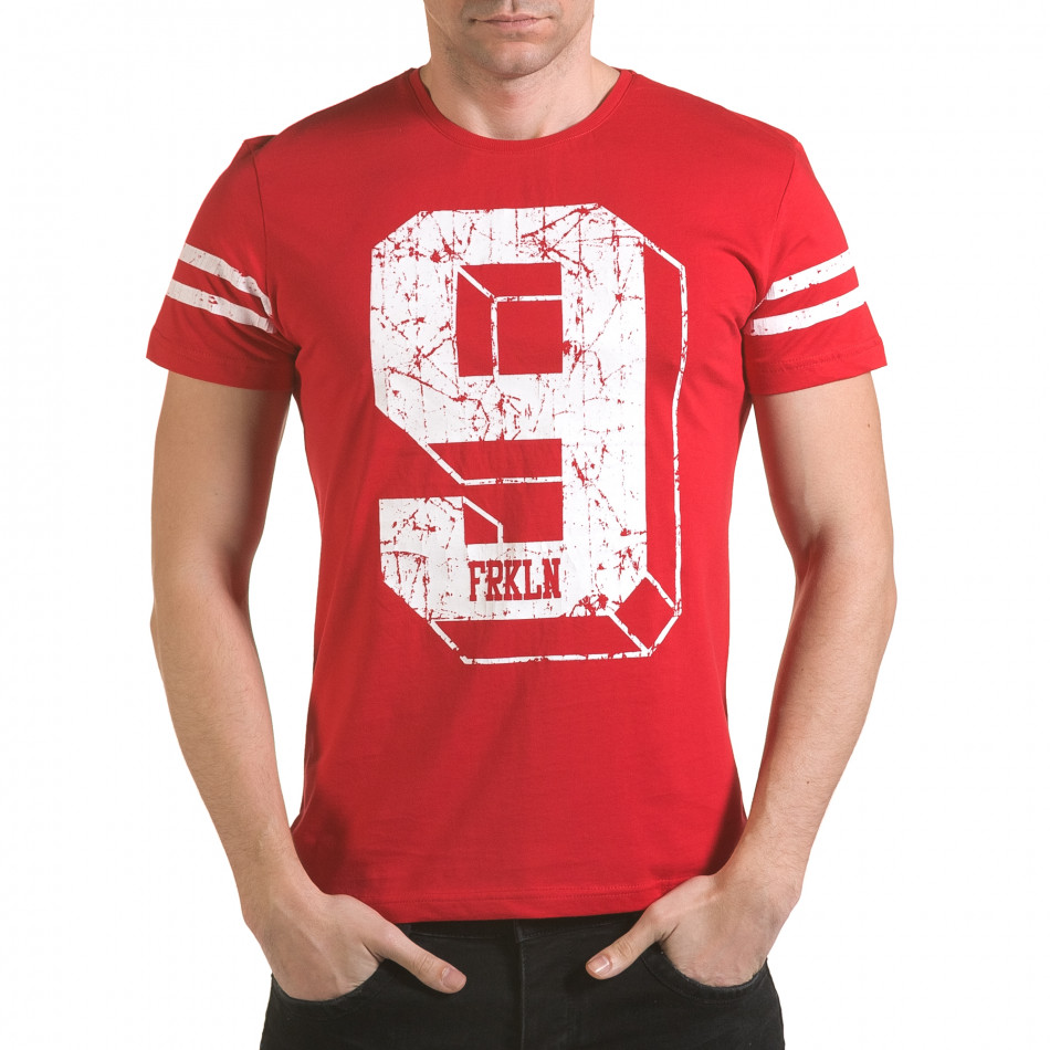 Мъжка червена тениска с голям номер 9 il170216-18