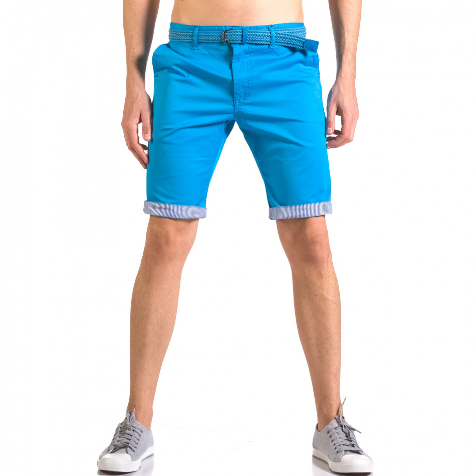 Мъжки светло син  къс панталон с плетен колан ca050416-56