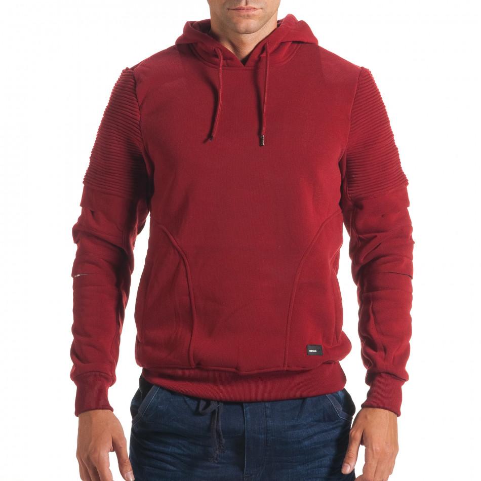 Мъжки червен суичър с декоративни скъсвания на ръкавите it240816-77