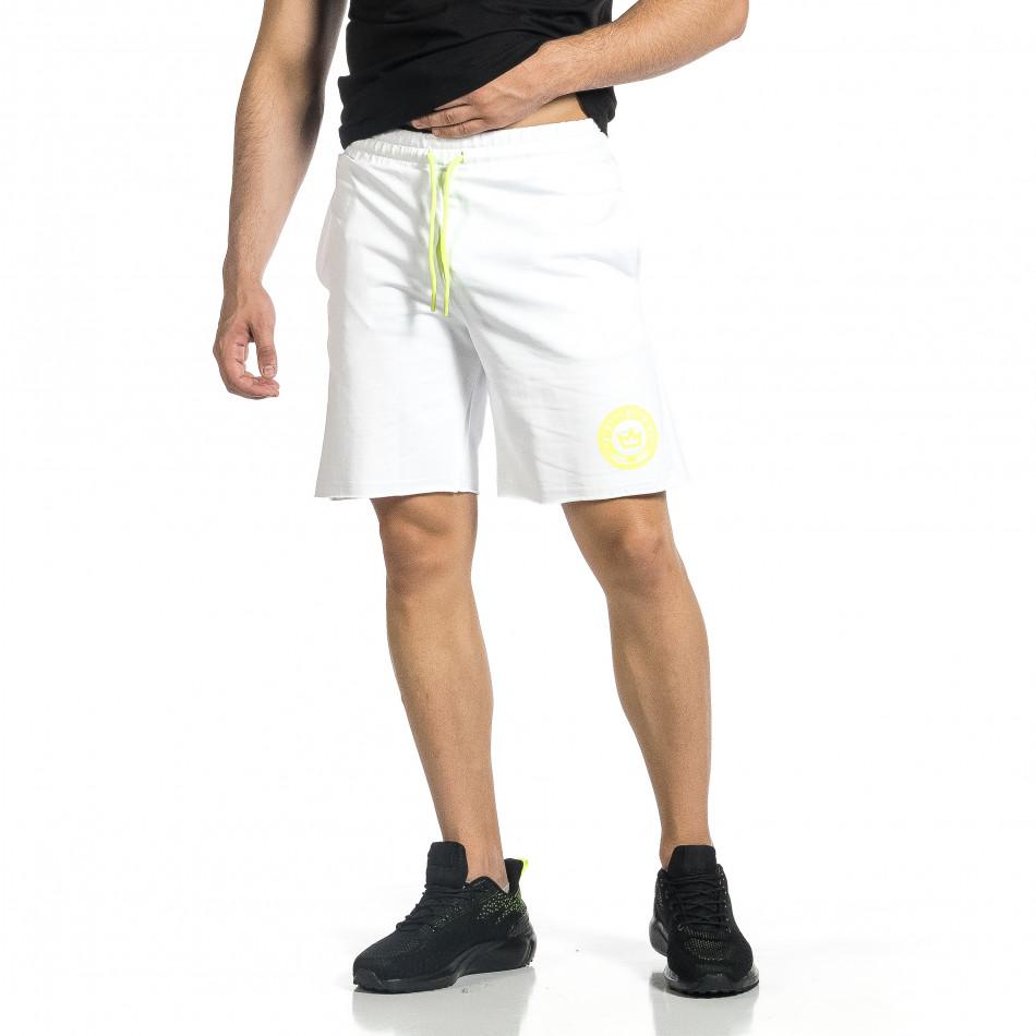 Трикотажни мъжки бели шорти с лого tr150521-24