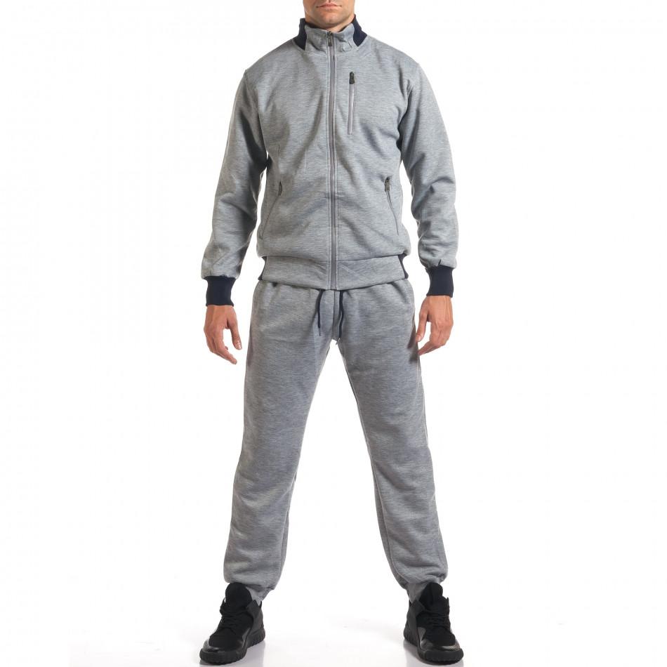 Мъжки светло сив спортен комплект с декоративен цип it160916-75