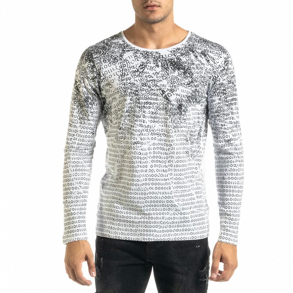 Мъжка бяла блуза с принт tr020920-46