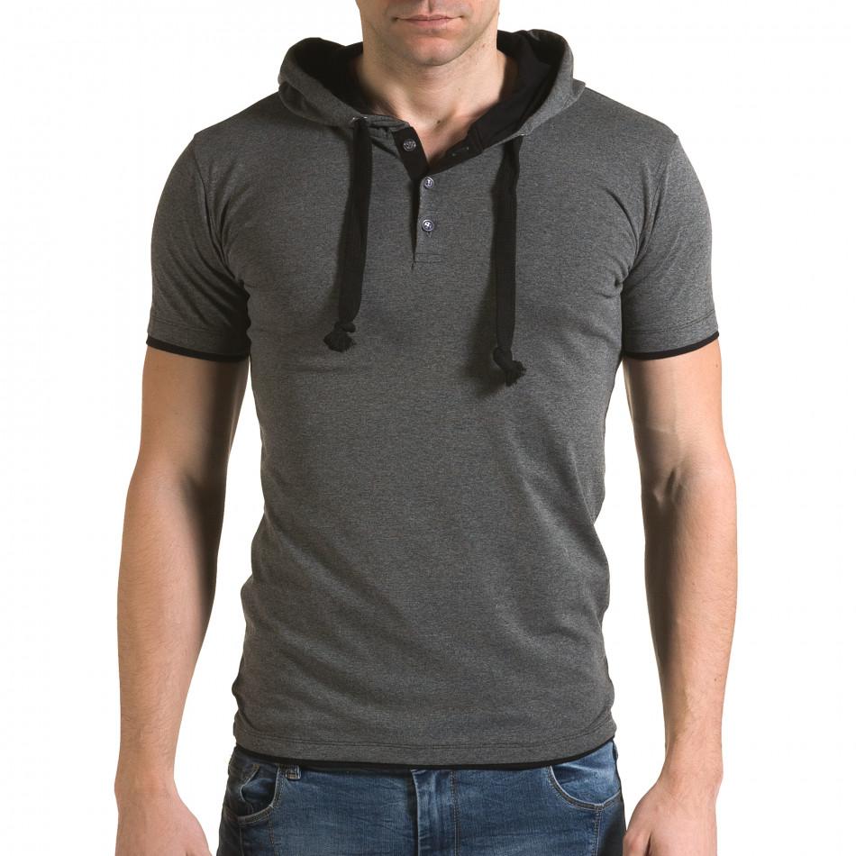 Мъжка сива тениска с качулка il120216-58