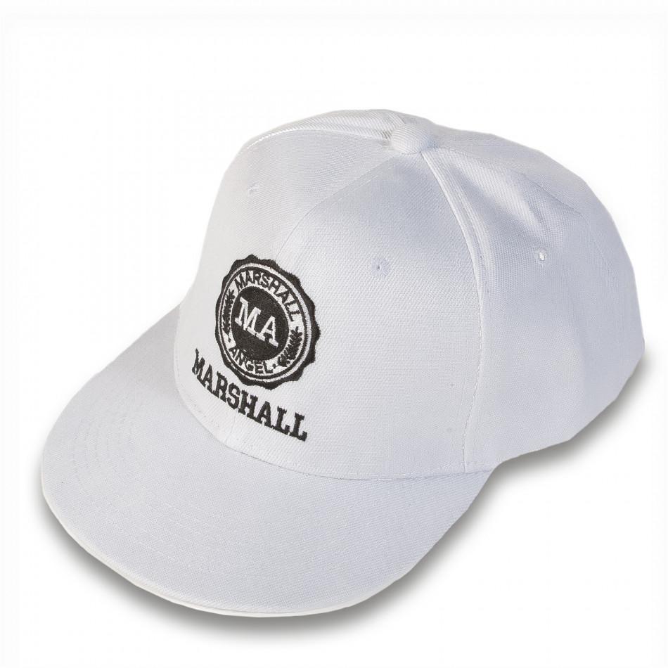 Мъжка бяла шапка с права козирка и емблема it220316-4