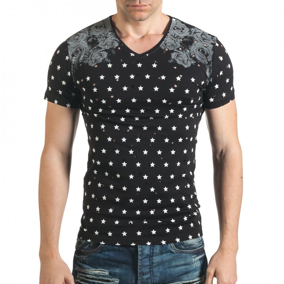 Мъжка черна тениска с декоративни дупки и принт звезди и рози il140416-59