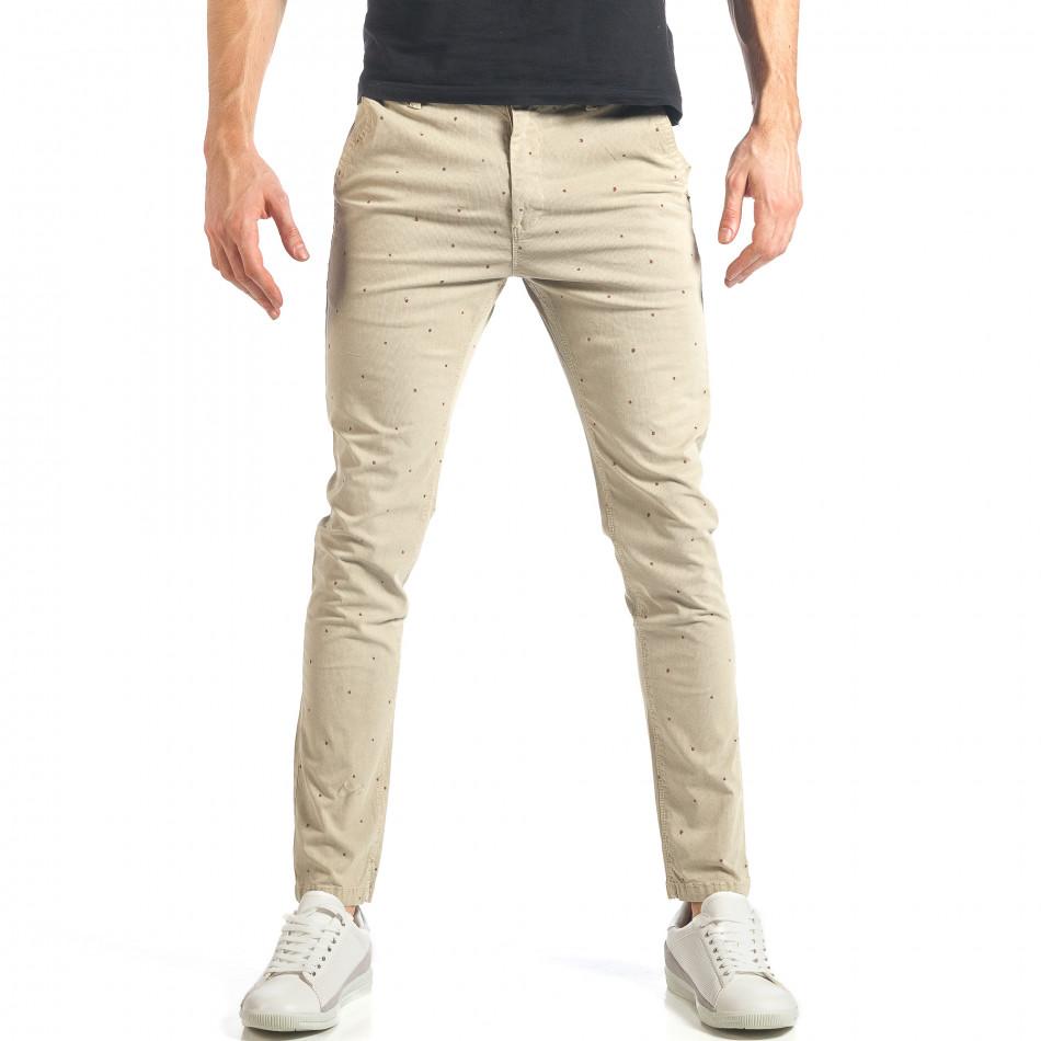Мъжки панталон в цвят каки с малки детайли по плата it290118-36