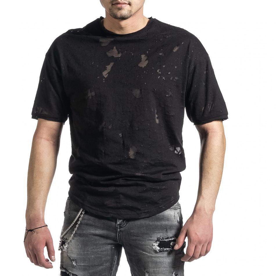 Мъжка черна тениска с прозрачни петна tr270221-49