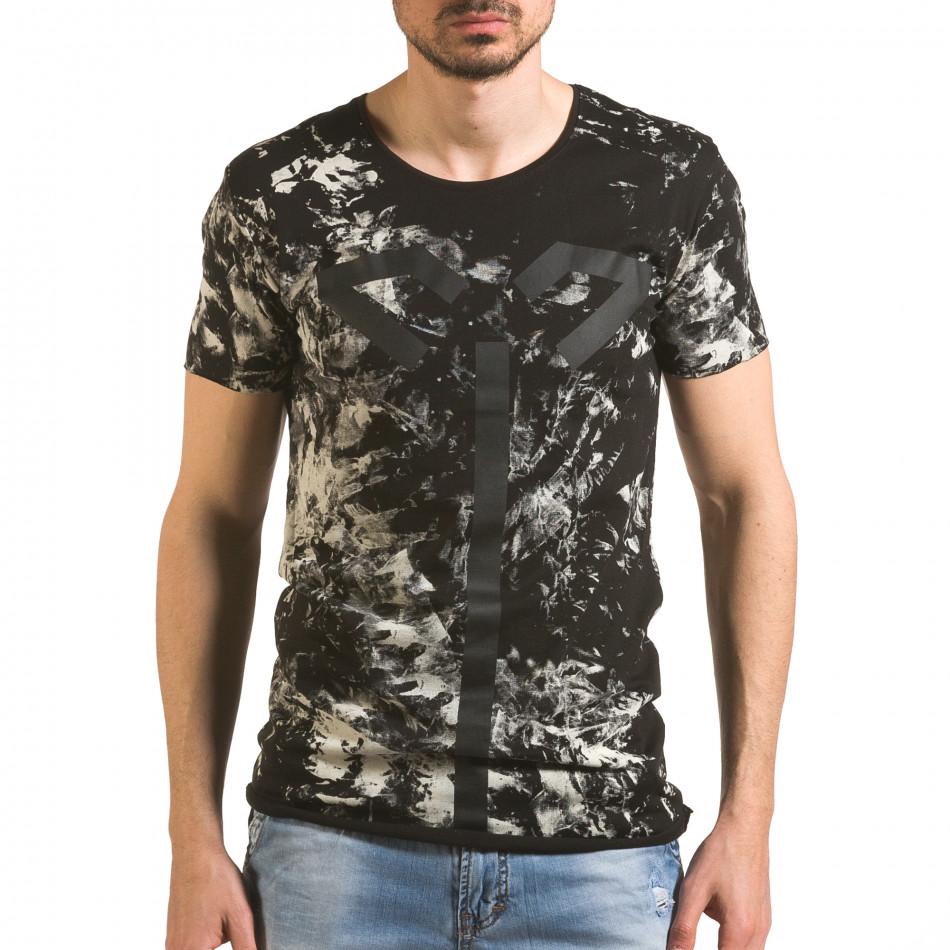Мъжка черна тениска удължена с як принт tsf060416-2