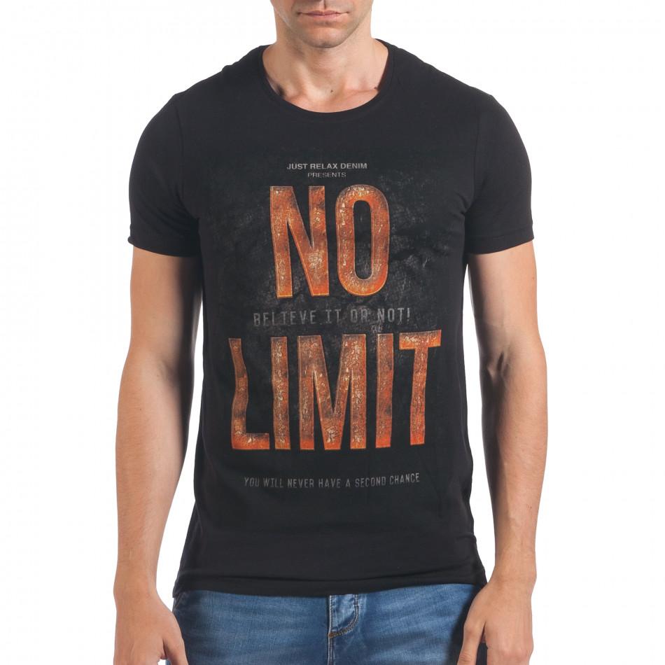 Мъжка черна тениска с надпис No Limit отпред il060616-65