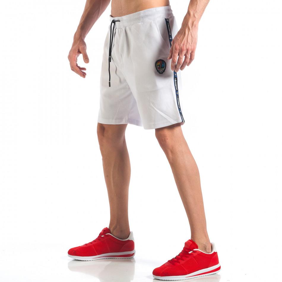Мъжки бели шорти с апликация на крачола it110418-22