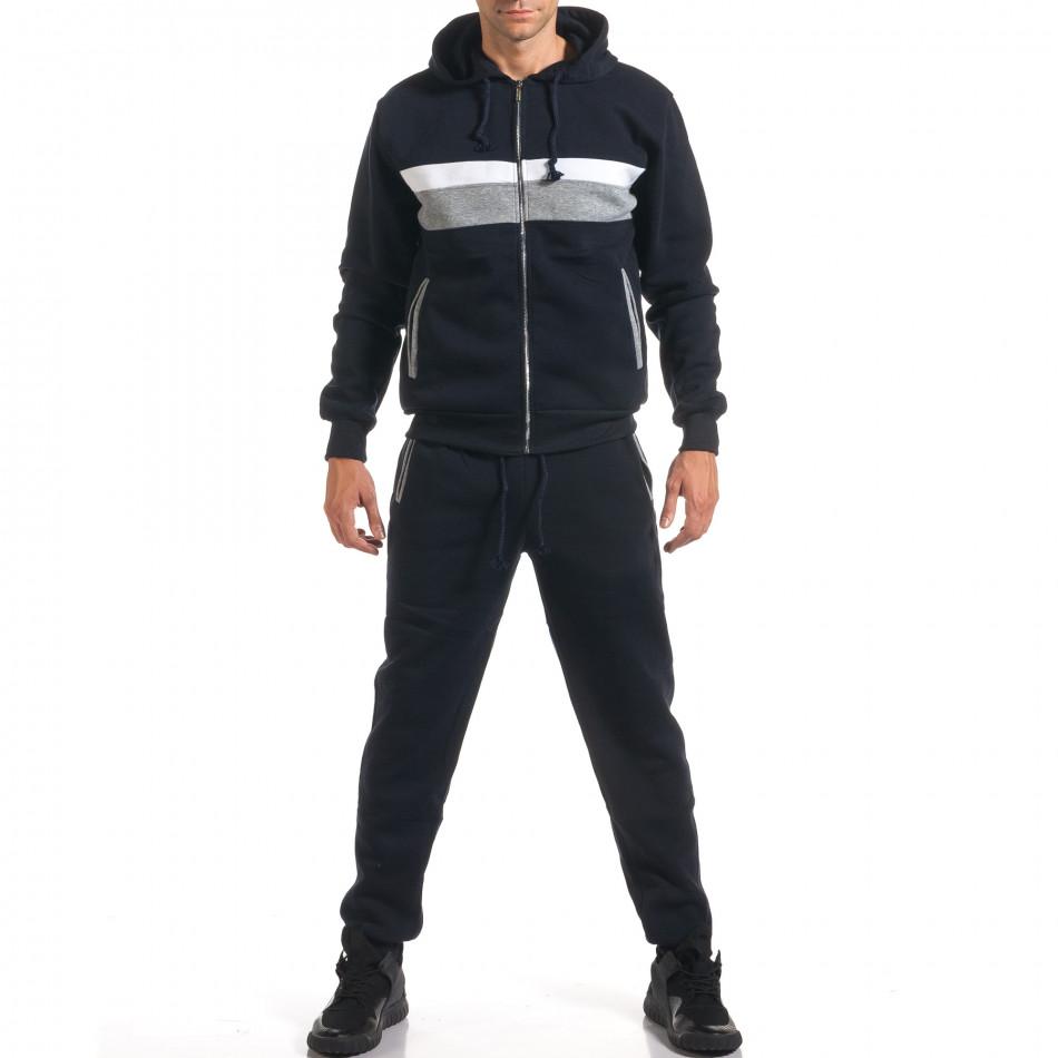Мъжки син спортен комплект със сива и бяла лента it160916-65