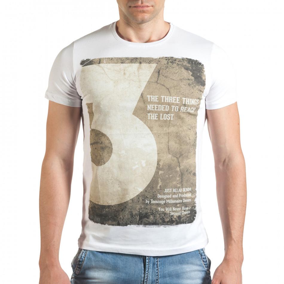Мъжка бяла тениска с номер 3 и щампа il140416-35