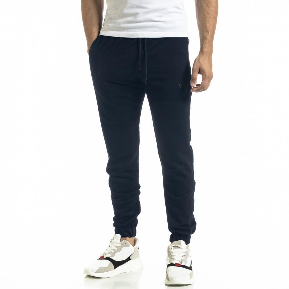 Мъжко синьо долнище с ципове на джобовете it261120-3