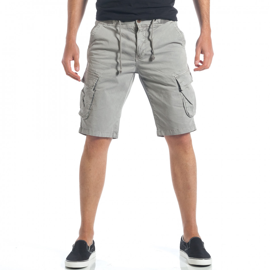 1934b371497 Мъжки сиви къси панталони с джобове на крачолите it190417-46 ...