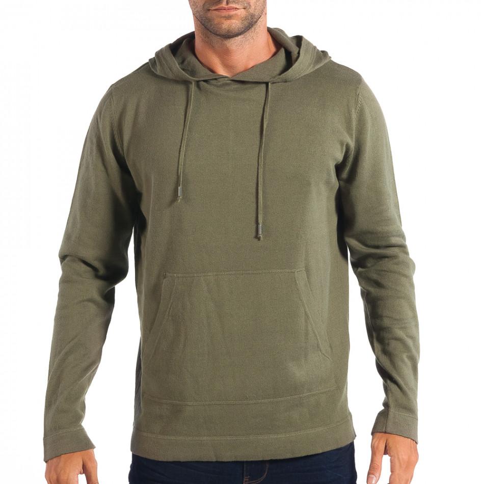 Мъжки лек пуловер RESERVED в зелено с качулка lp070818-70