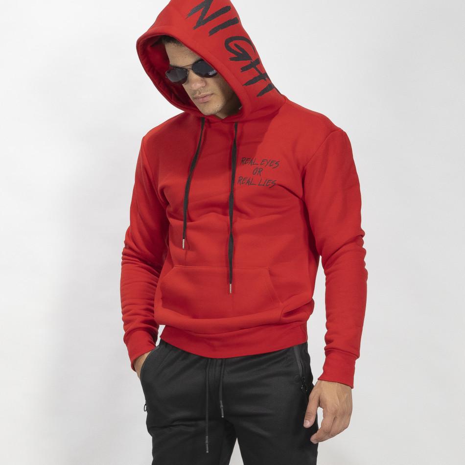 Червен ватиран мъжки суичър тип анорак it041019-49