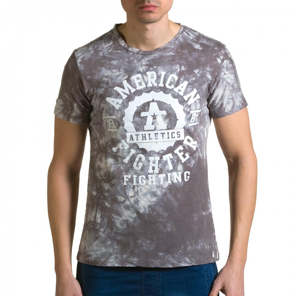 Мъжка сива тениска с бял принт отпред ca190116-45