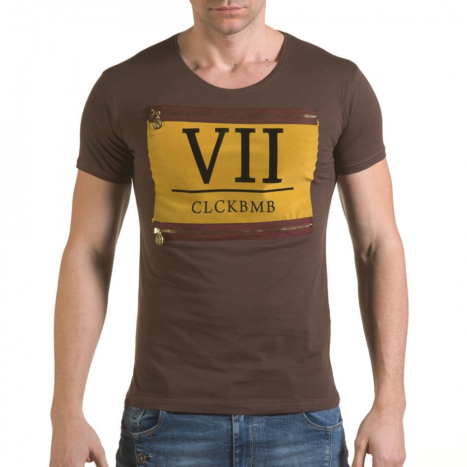 Мъжка кафява тениска с римски номер VII il170216-85