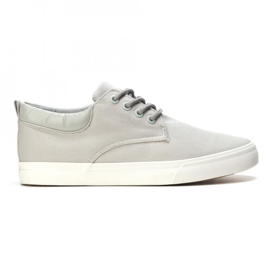 Мъжки спортни обувки тип кецове в сиво с бяла подметка it270416-4