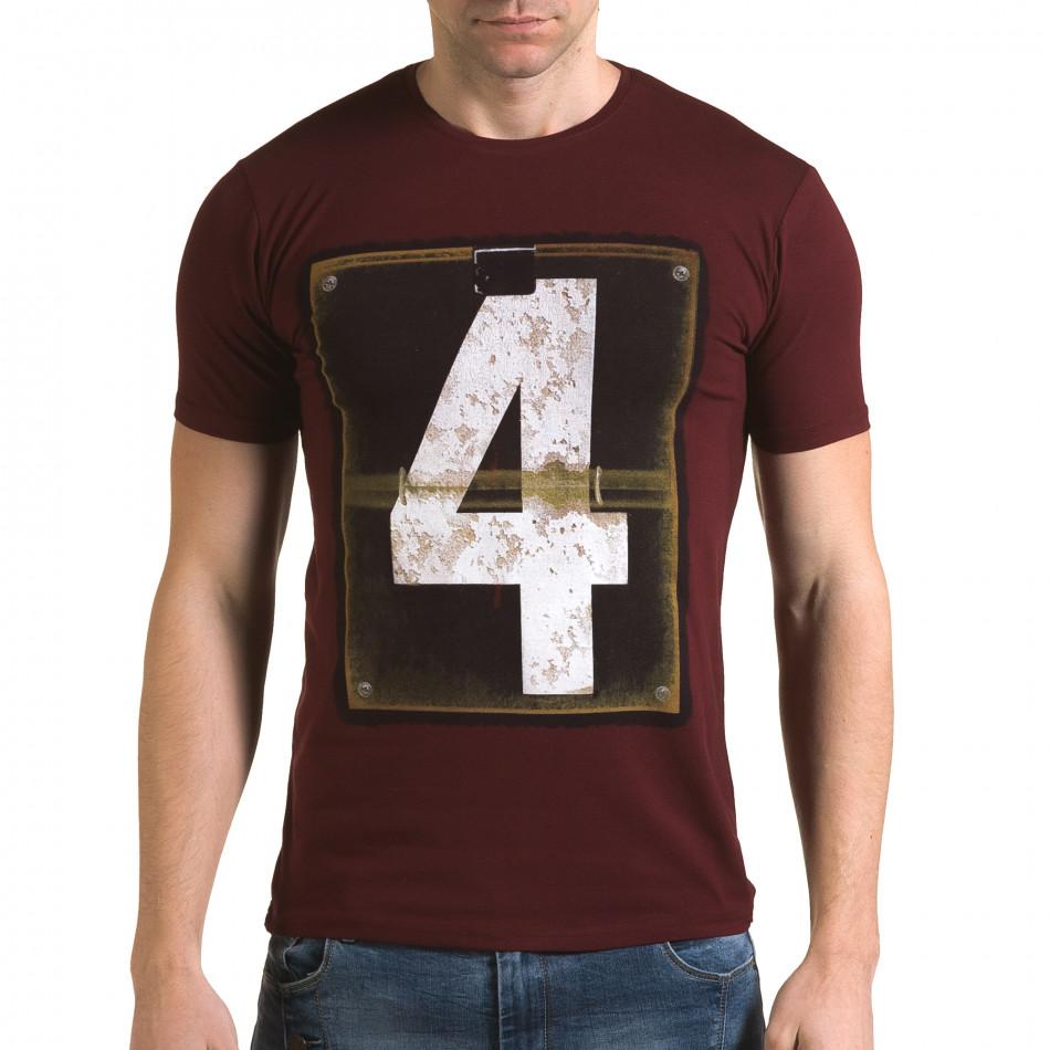 Мъжка червена тениска с номер 4 il120216-45