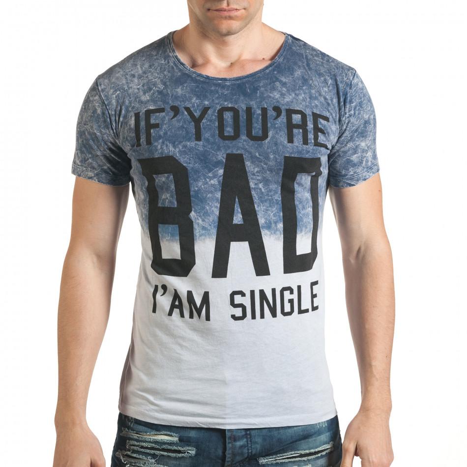 Синя мъжка тениска с надпис il140416-55