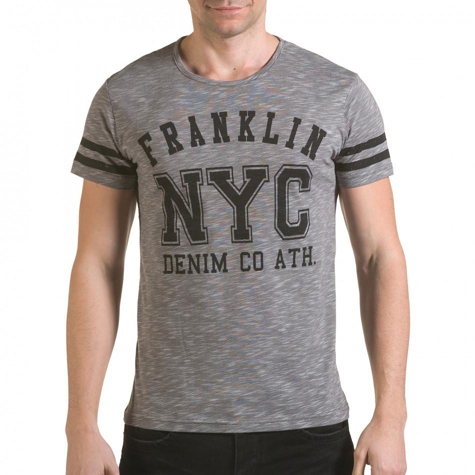 Мъжка сива тениска NYC il170216-4