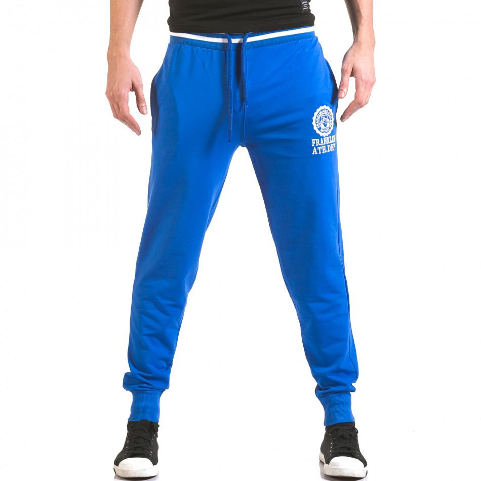 Мъжко синьо долнище с лого на единия крачол il170216-131