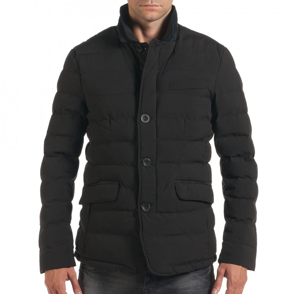 Мъжко черно зимно яке с елегантен дизайн it190616-4