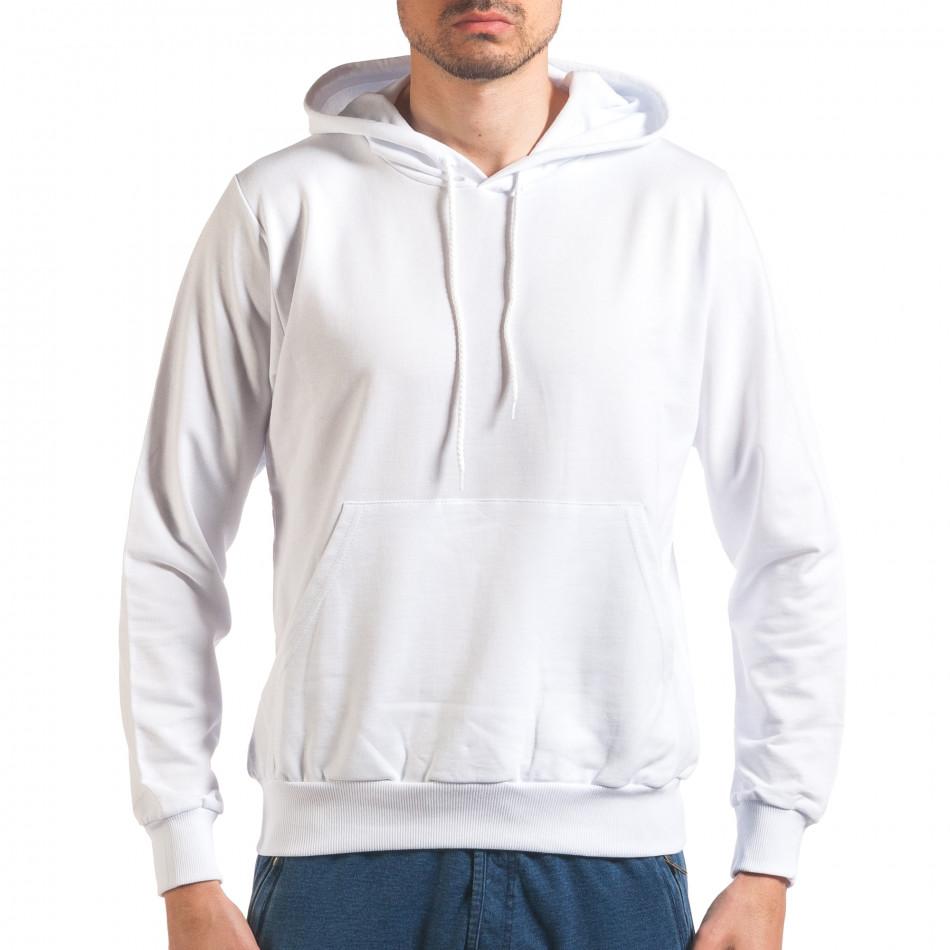 Мъжки бял суичър с качулка it250416-91