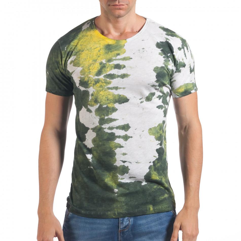 Мъжка бяла тениска с жълто-зелен принт il060616-52