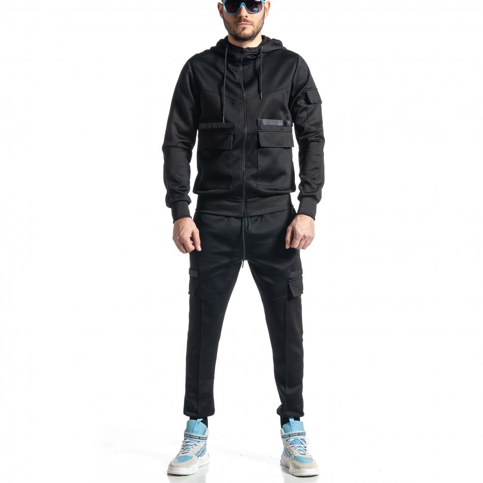 Мъжки черен спортен комплект 7джоба it010221-55