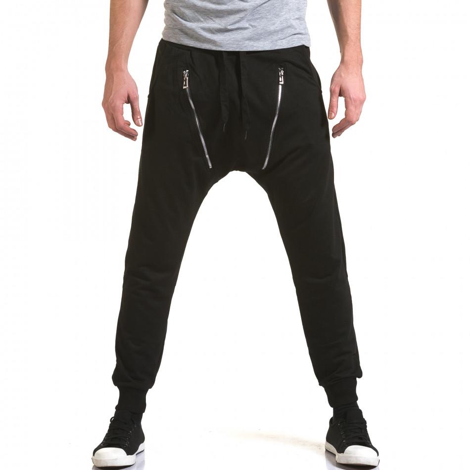 Мъжки черни потури с 2 декоративни ципа it090216-46