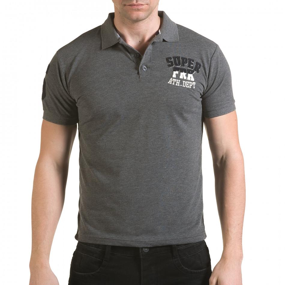 Мъжка сива тениска с яка с релефен надпис Super FRK il170216-23