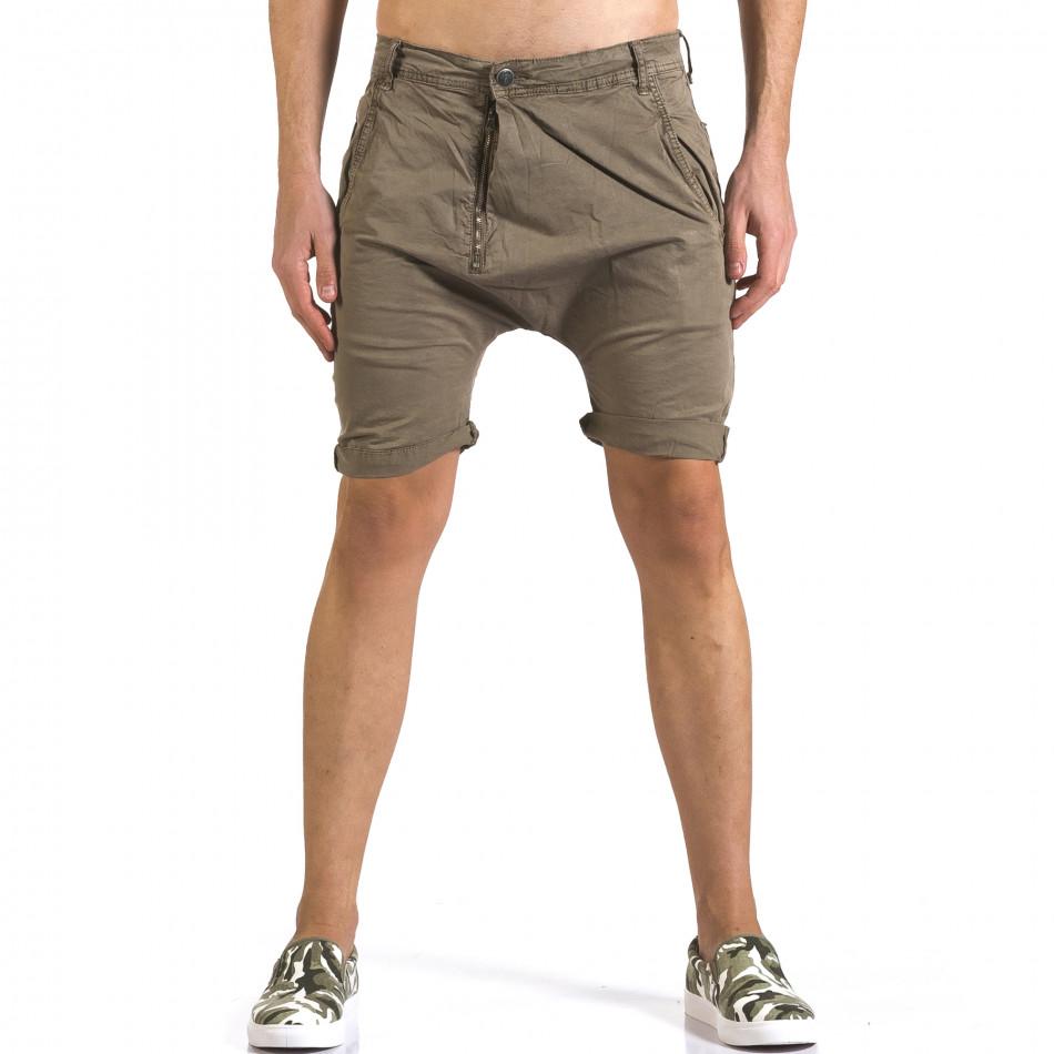 Мъжки зелени къси панталони със смъкнато дъно it110316-33